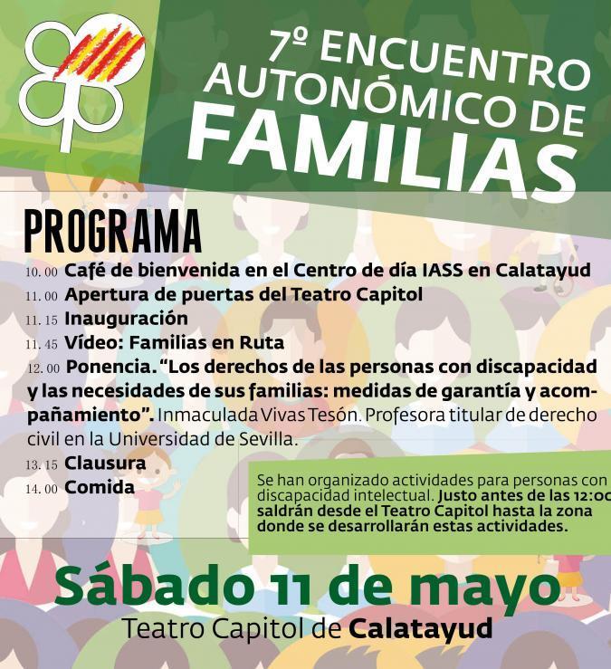 Mañana sábado se celebra en Calatayud el 7º Encuentro Autonómico de Familias de Personas con Discapacidad Intelectual