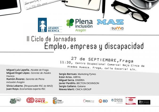 Fraga acoge el II Ciclo de Jornadas sobre Empleo, empresa y discapacidad