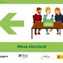 Ejemplo de una de las señales que se utilizarán en el colegio electoral de la plaza del Pilar.