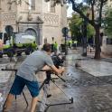 Un momento de la grabación del videoclip, en Zaragoza.