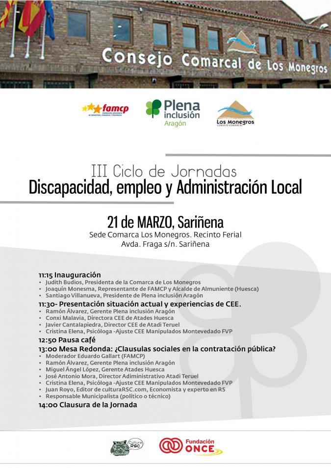 III Ciclo de Jornadas sobre Discapacidad, empleo y administración local